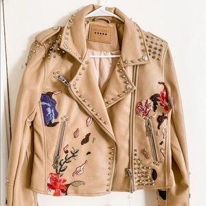 Studded, Embroidered Vegan Leather Jacket